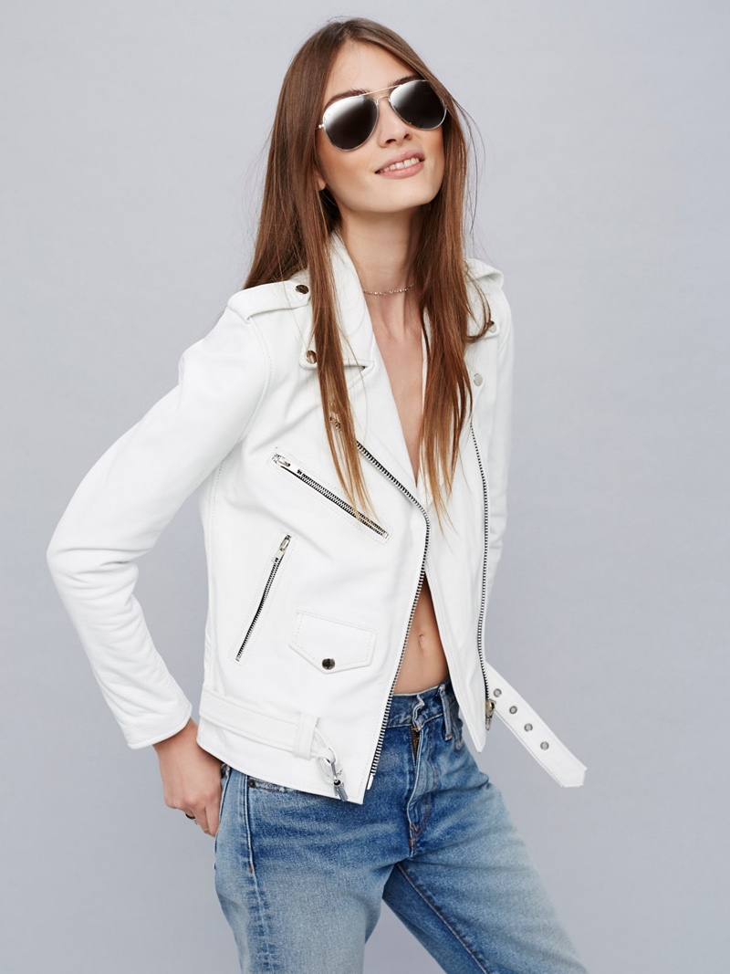 Understated Easy Rider Leather Jacket in White