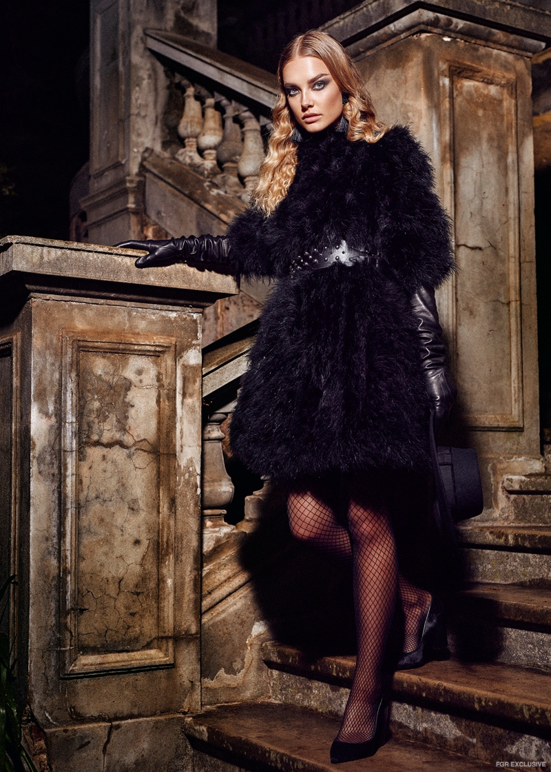 Fur jacket from Mode and Affair, McQ by Alexander McQueen Belt from Myer, Lanvin Leather Gloves from Elle Boutique
