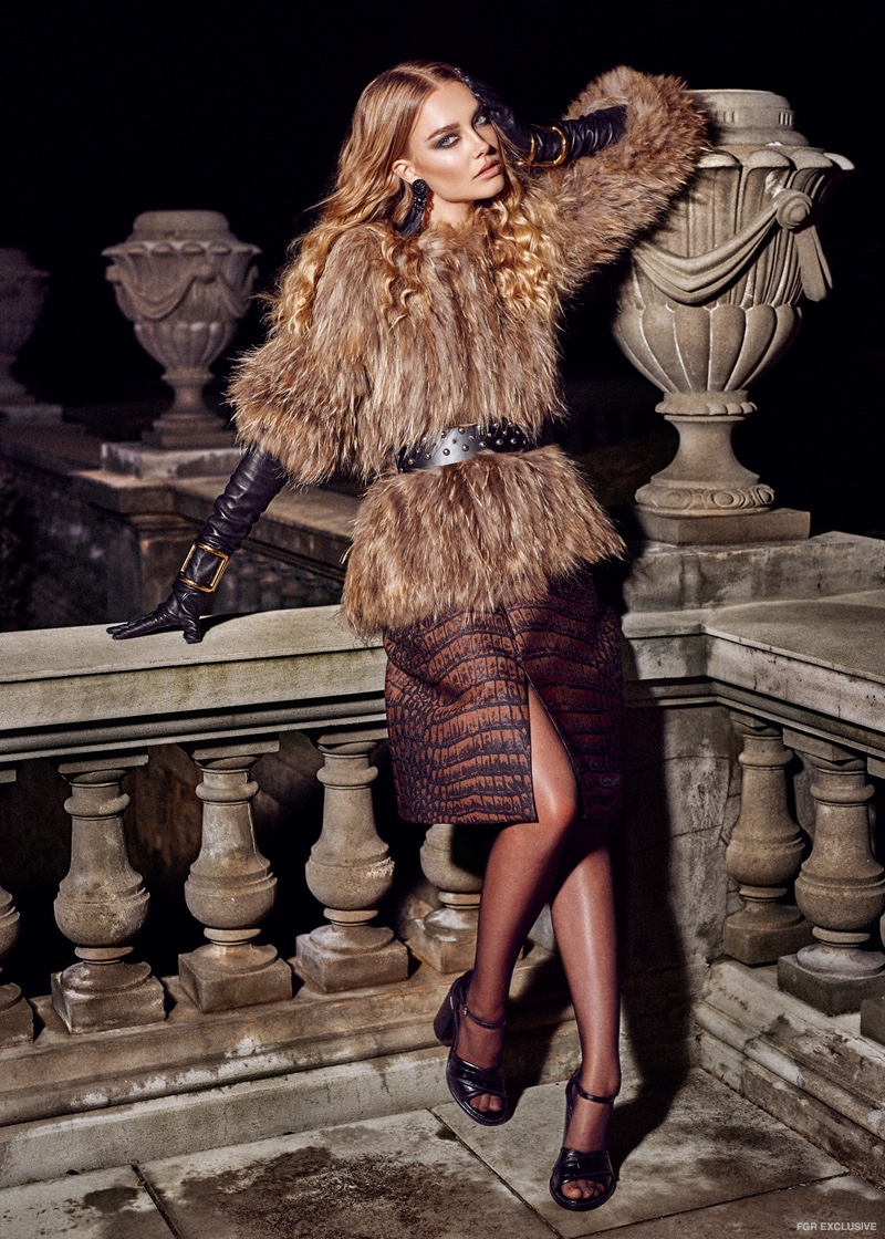 Fur Jacket from Mode and Affair, McQ by Alexander McQueen Belt from Myer, Stella McCartney Skirt, La Vin Leather Gloves, Balenciaga Cuffs from Elle Boutique, Opening Ceremony Heels