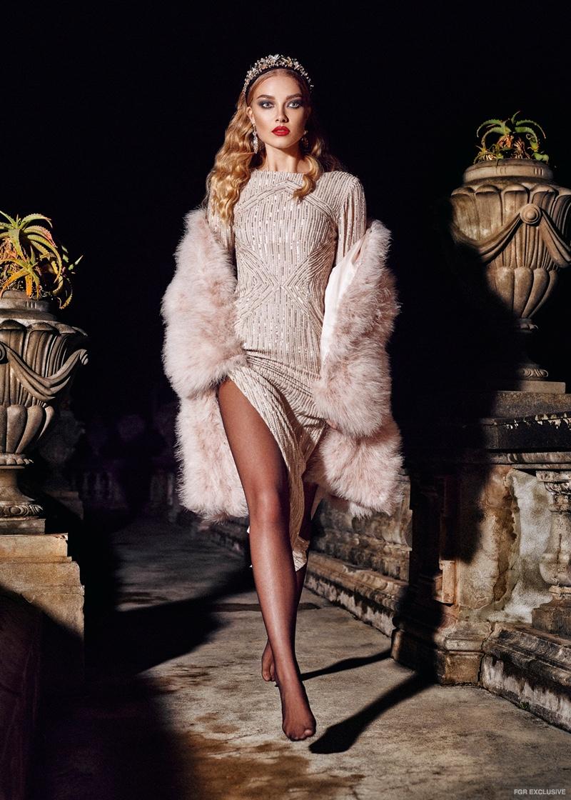 Fur Jacket from Mode and Affair, Rachel Gilbert Dress from Elle Boutique