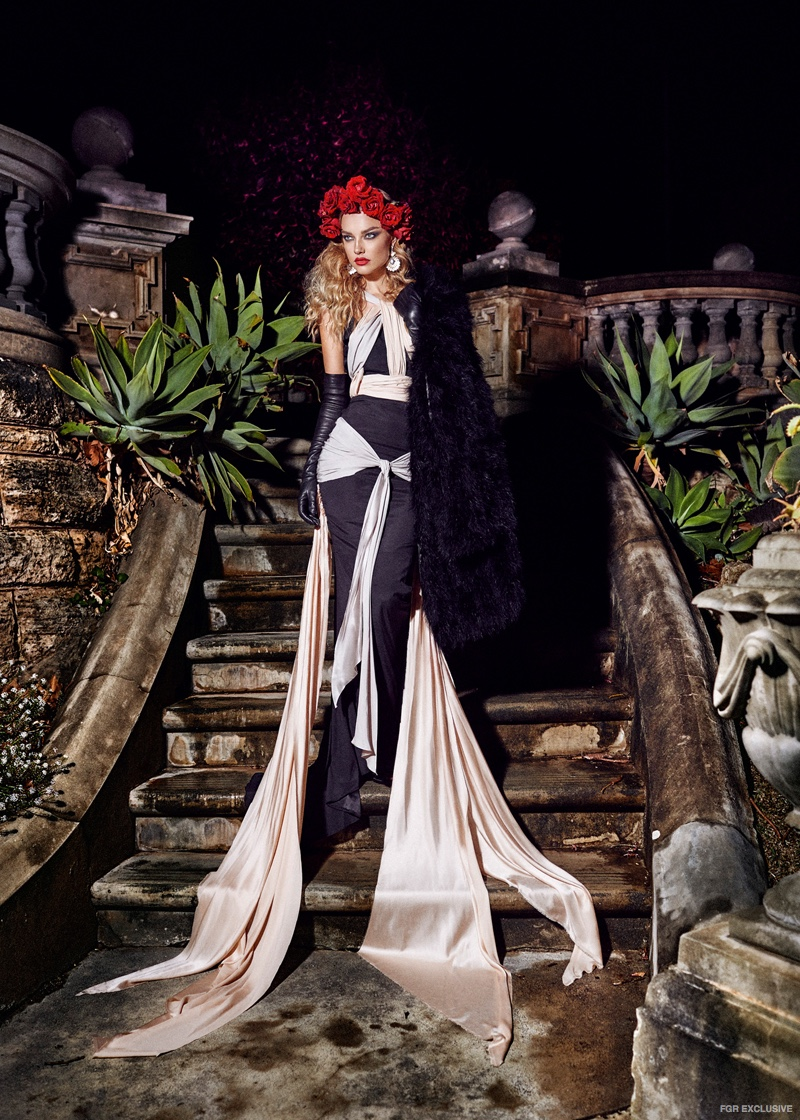 Fur Jacket from Mode and Affair,​ Michelle Jank Gown and Lanvin Leather Gloves from Elle Boutique
