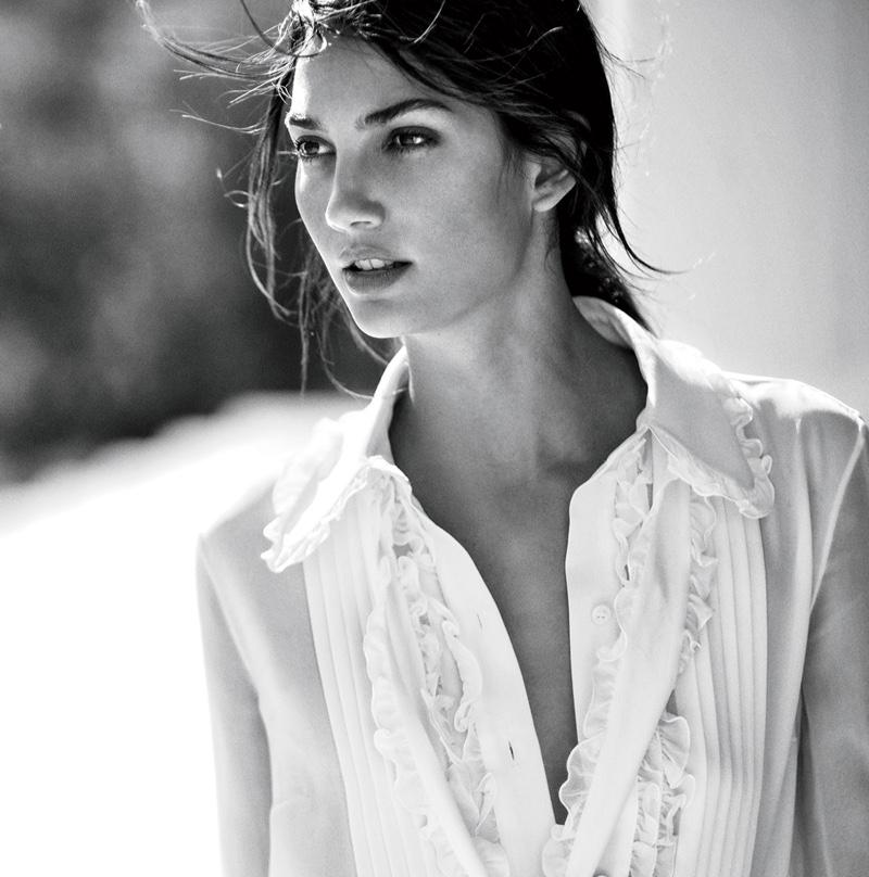 Lily Aldridge wears white Michael Kors blouse
