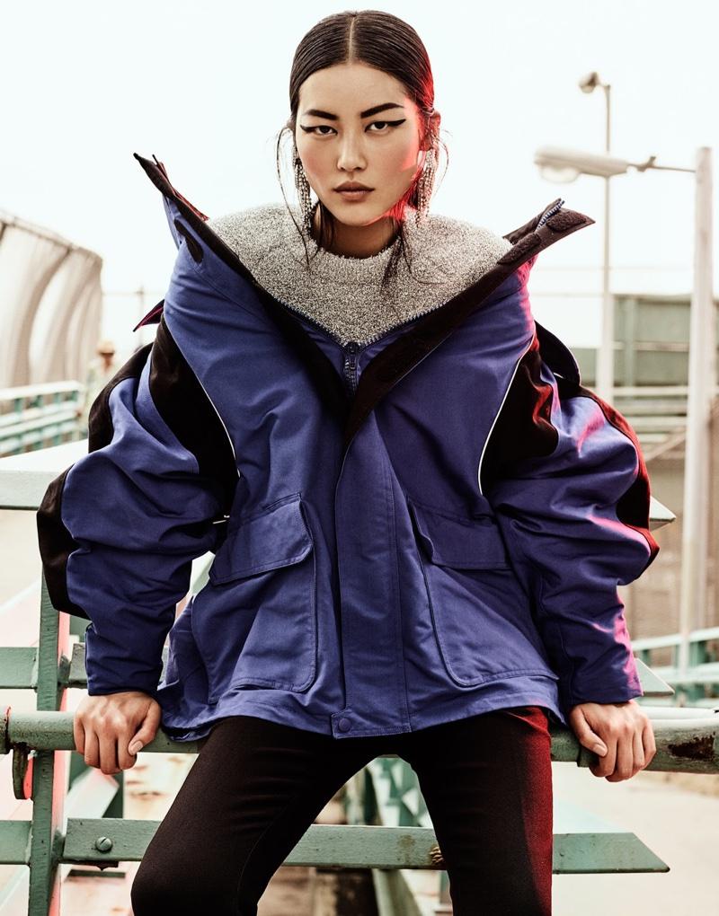 Liu Wen fills the scene in Balenciaga jacket, pants and sweater