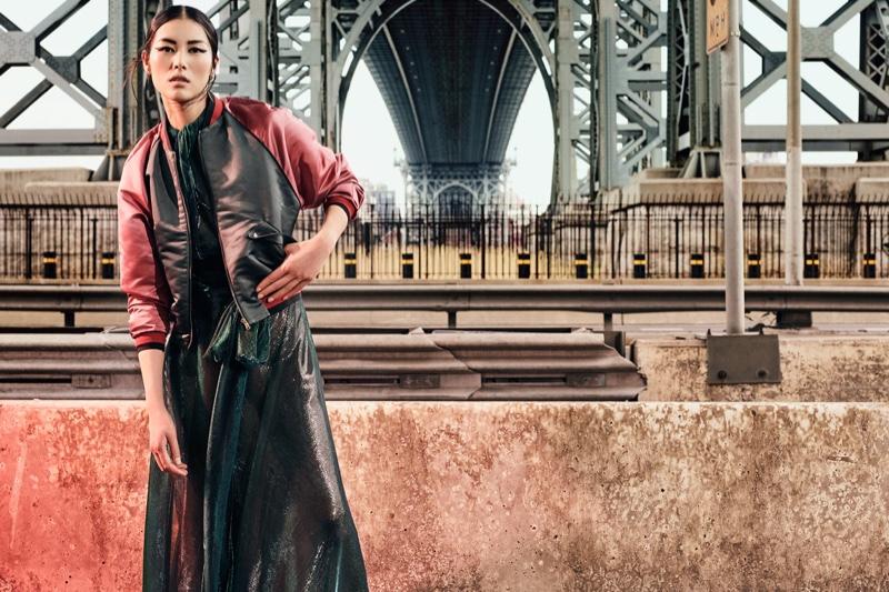 Liu Wen gets sporty in Tomas Maier bomber jacket, Maison Margiela dress and Charlotte Chesnais earrings