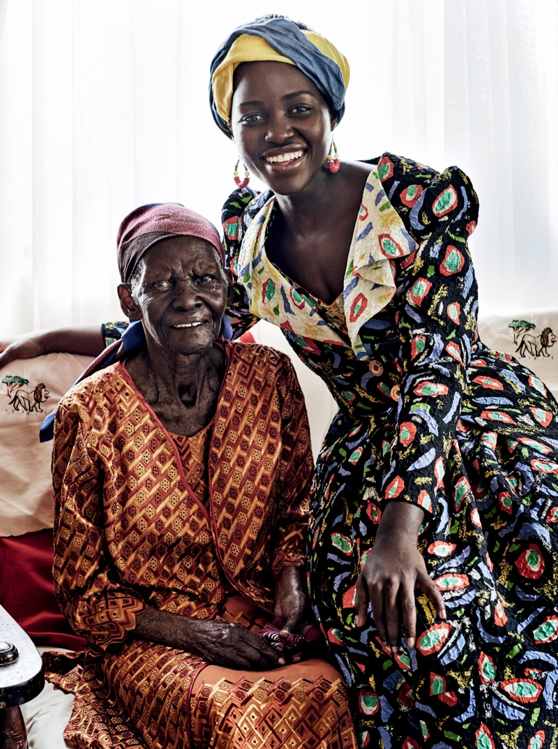 Lupita Nyong'o poses with her grandmother in Duro Olowu silk coat and skirt