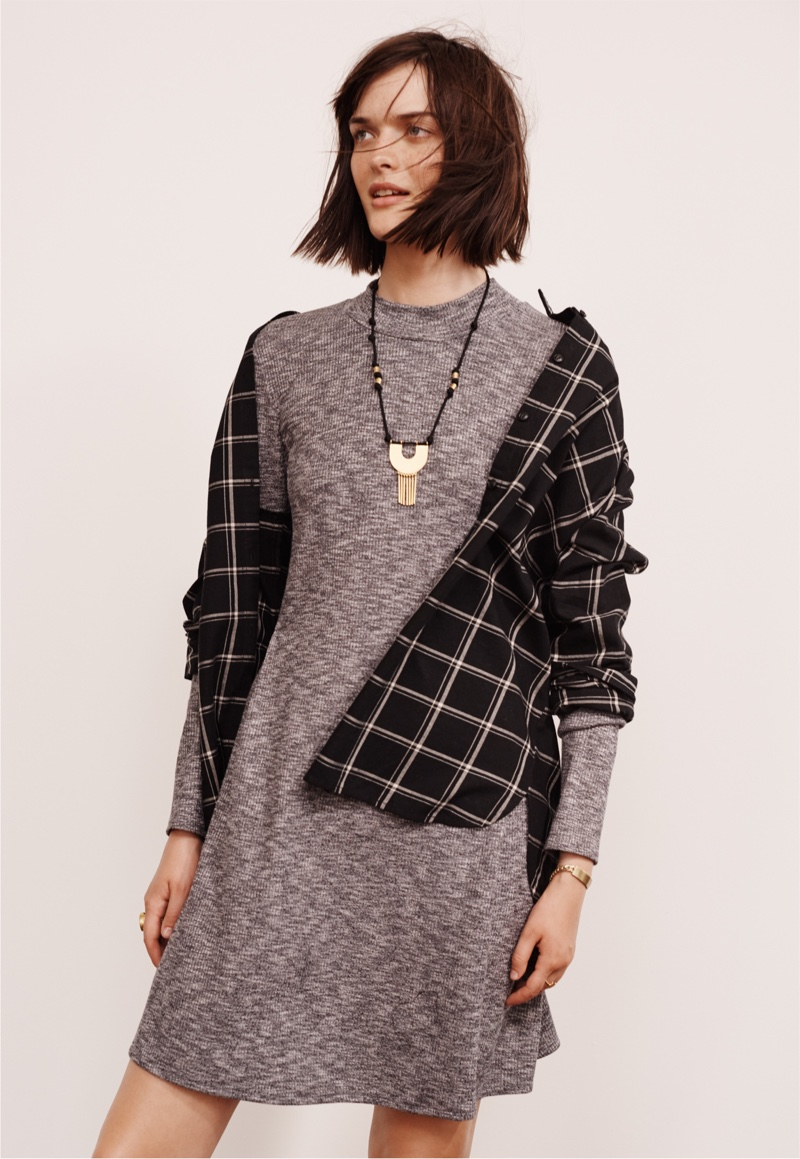 Madewell Classic Ex-Boyfriend Shirt, Cityblock Mockneck Dress and Timebend Necklace