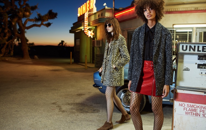 Texturized coats are featured in Mango's October campaign