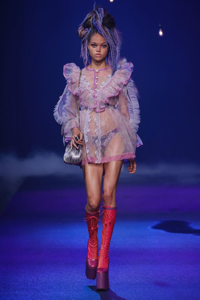 Marc Jacobs Spring 2017: Dilia Martens walks the runway in sheer babydoll dress with ruffles with platform boots