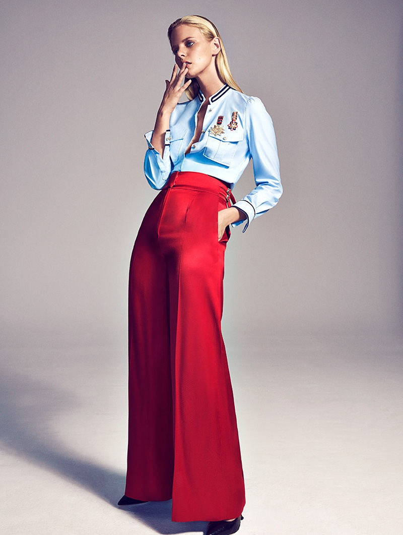 Marloes Horst sports embroidered Tommy Hilfiger shirt with Blumarine pants and Miu Miu heels