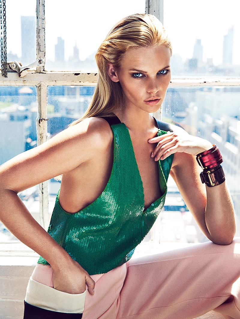 Marloes Horst wears Max Mara sequin jumpsuit