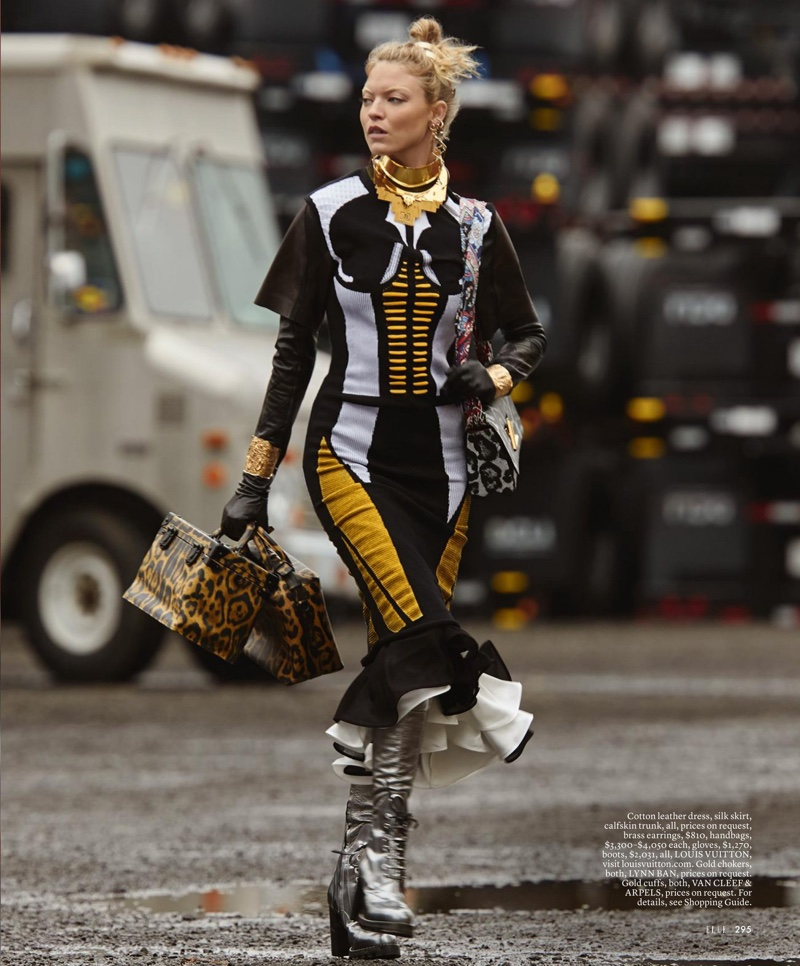 Martha Hunt hits the streets in Louis Vuitton dress, skirt, trunk and boots