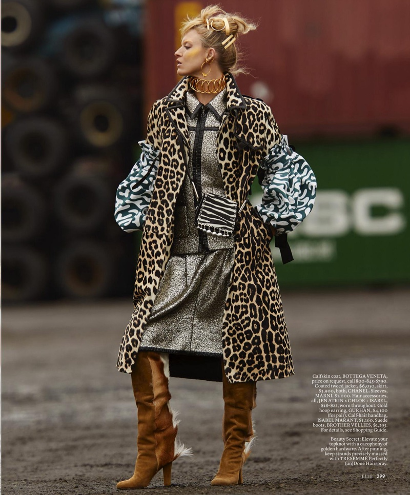 The model wears wild prints in the fashion editorial