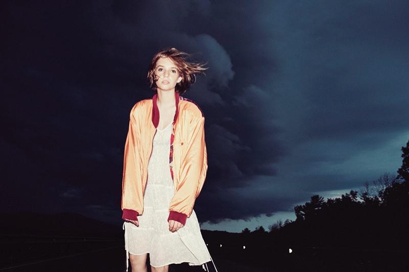 Maya Hawke wears bomber jacket and dress from AllSaints