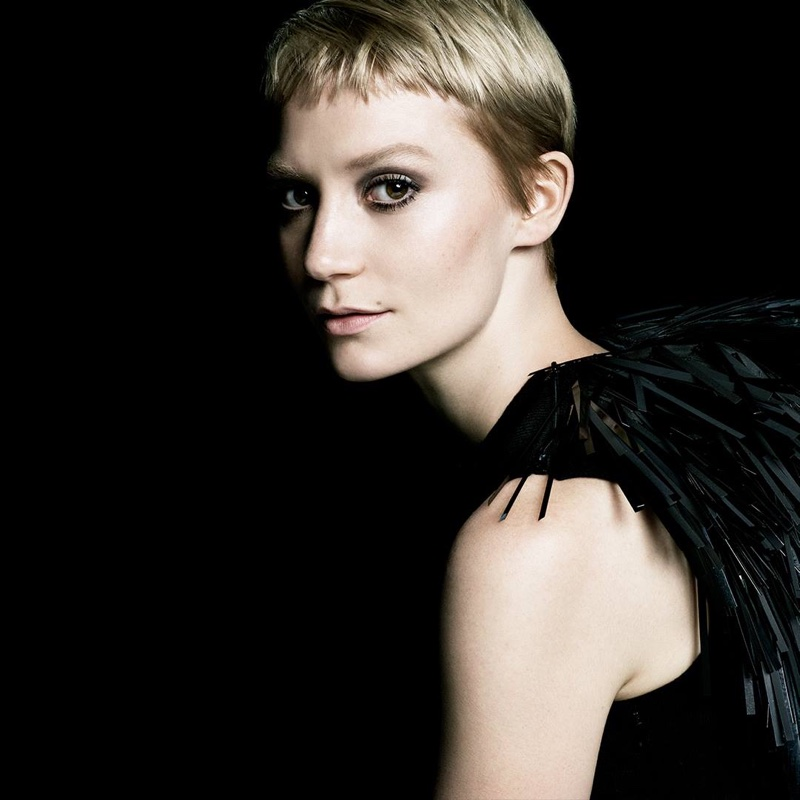 Actress Mia Wasikowska wears a pixie haircut in Prada's new fragrance campaign