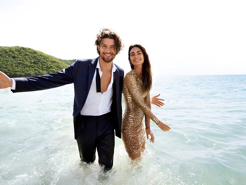 Lily Aldridge and Wouter Peelen pose in the Caribbean for Michael Kors fragrance campaign
