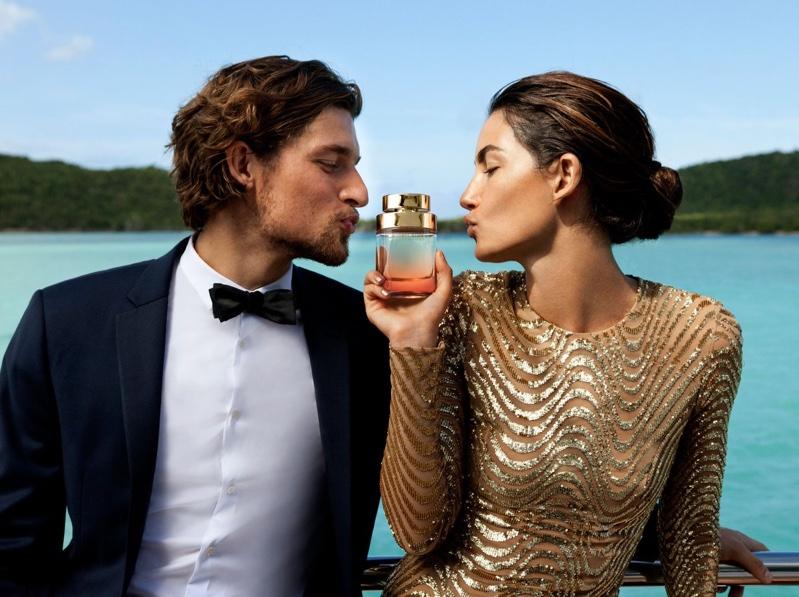 Lily Aldridge and Wouter Peelen shine like gold for Michael Kors Wonderlust perfume campaign