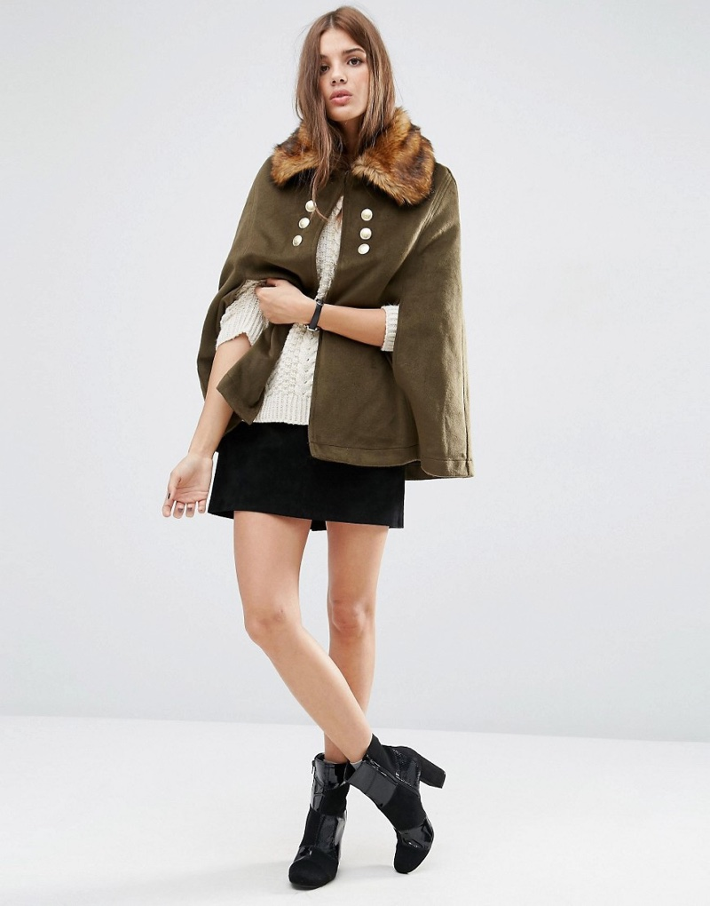 ASOS Military Cape with Faux Fur Collar