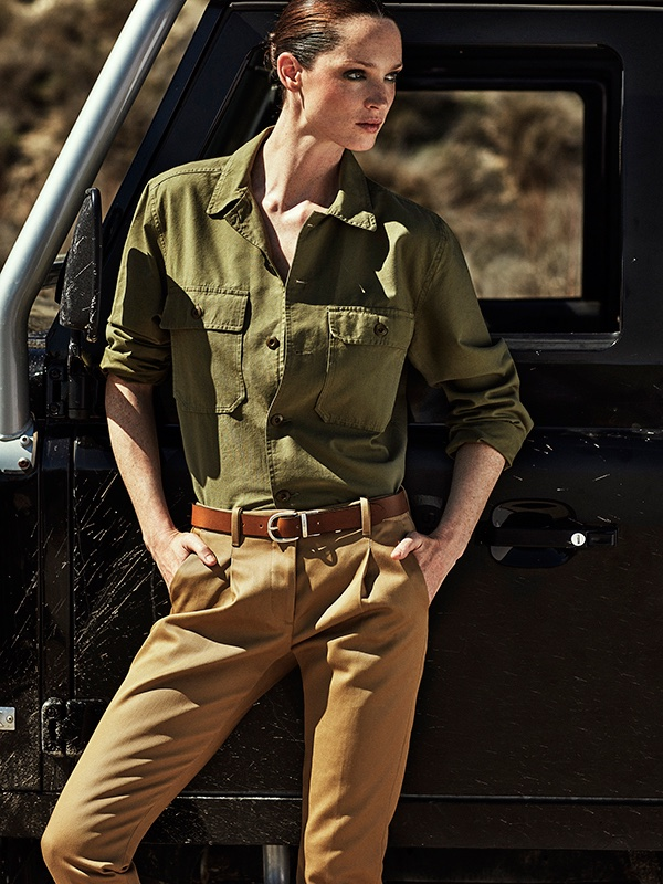 Carla Crombie stands tall in El Corte Ingles top with Nine in the Morning pants, belt by Wrangler