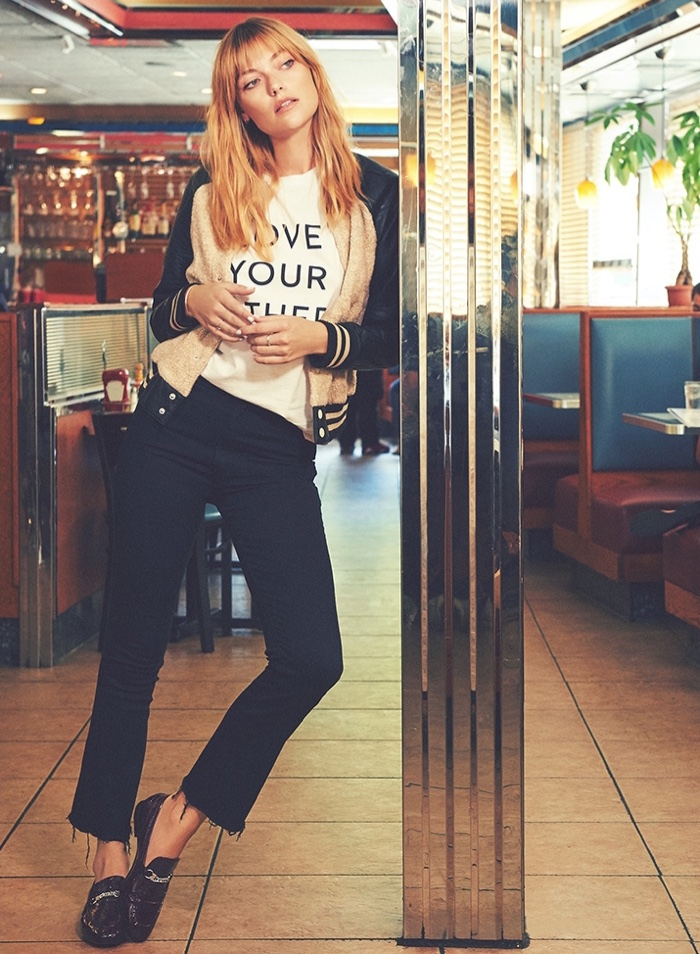 MOTHER Letterman Snap Jacket, Love Your Other Buster Tee, The Hustler Ankle Fray Jeans and Rag & Bone Cooper Loafers