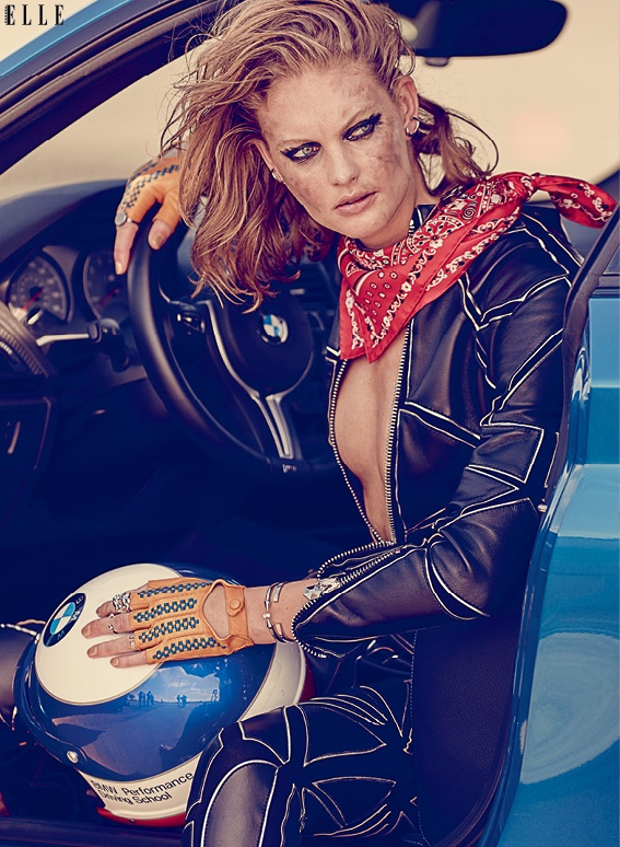 The model poses in moto inspired fashions for the editorial