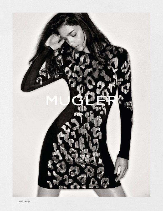 Mugler spotlights long-sleeve leopard print dress in fall-winter 2016 campaign