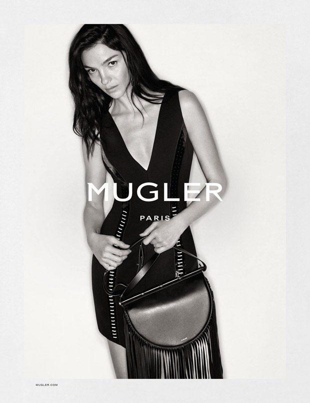 Mariacarla Boscono fronts Mugler's fall-winter 2016 campaign wearing mini bodycon dress