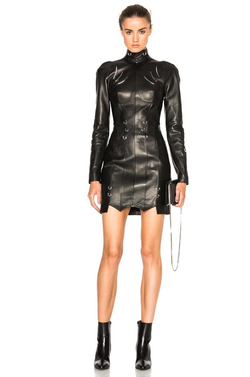 Mugler Leather Piercing Mini Dress