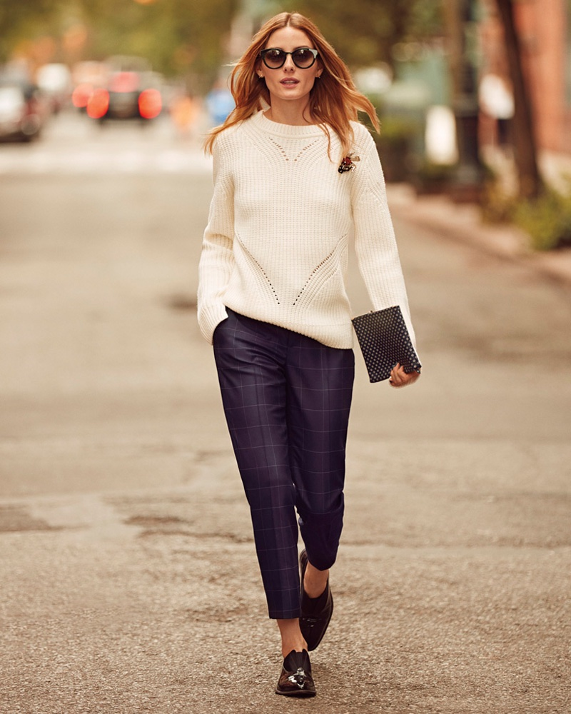 Banana Republic Crewneck Pullover and Avery-Fit Windowpane Crop Pant