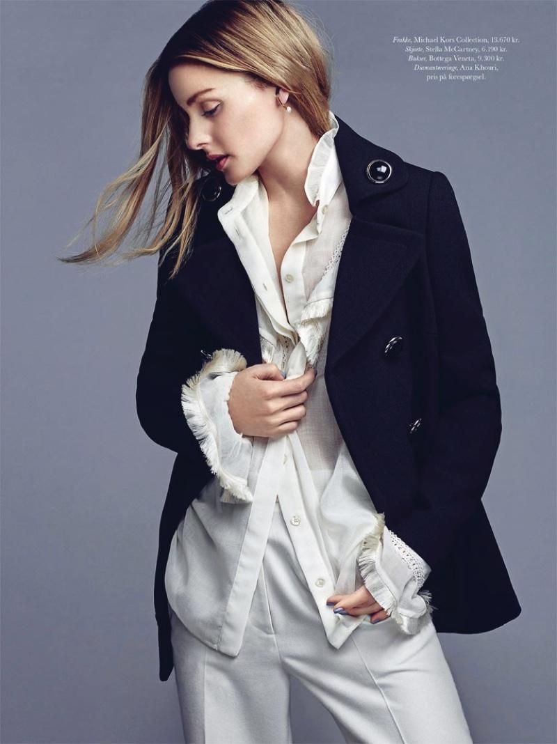 Style star Olivia Palermo wears Michael Kors Collection jacket, Stella McCartney blouse and Bottega Veneta pants