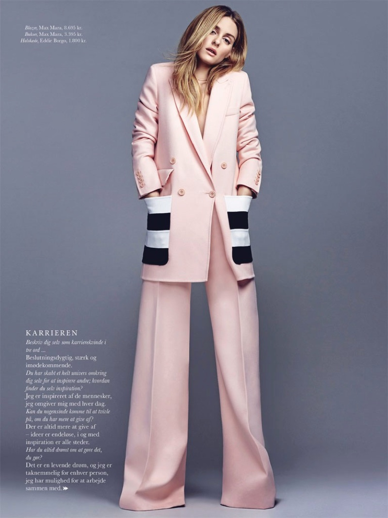 Olivia Palermo looks pretty in pink wearing Max Mara blazer and pants