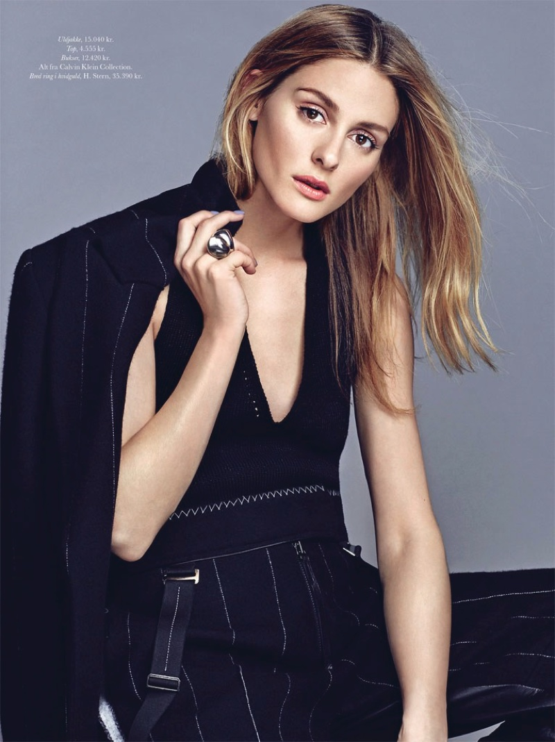 Olivia Palermo wears stripes with Calvin Klein Collection pantsuit and top