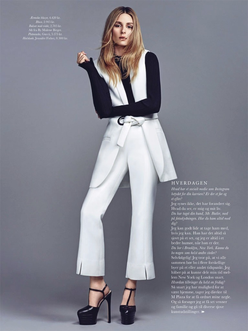 Olivia Palermo rocks a sleeveless jacket, blouse and pants from By Malene Birger