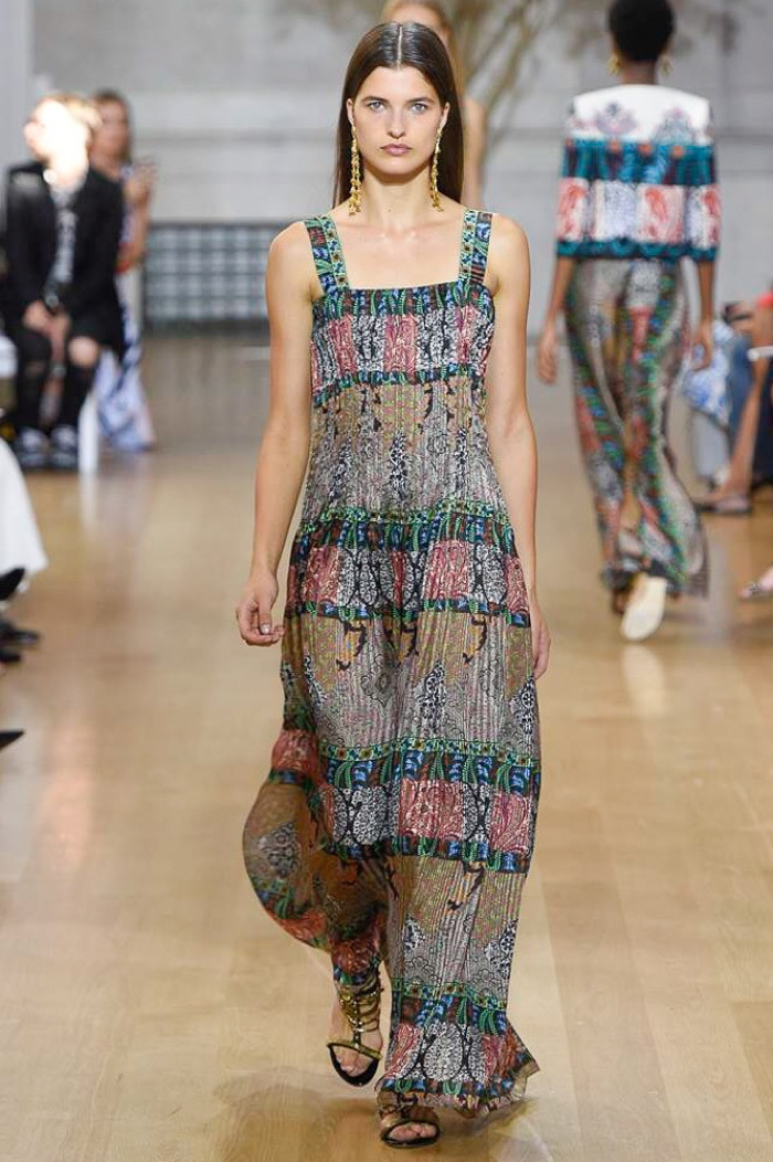 Oscar de la Renta Spring 2017: Model walks the runway in printed maxi dress