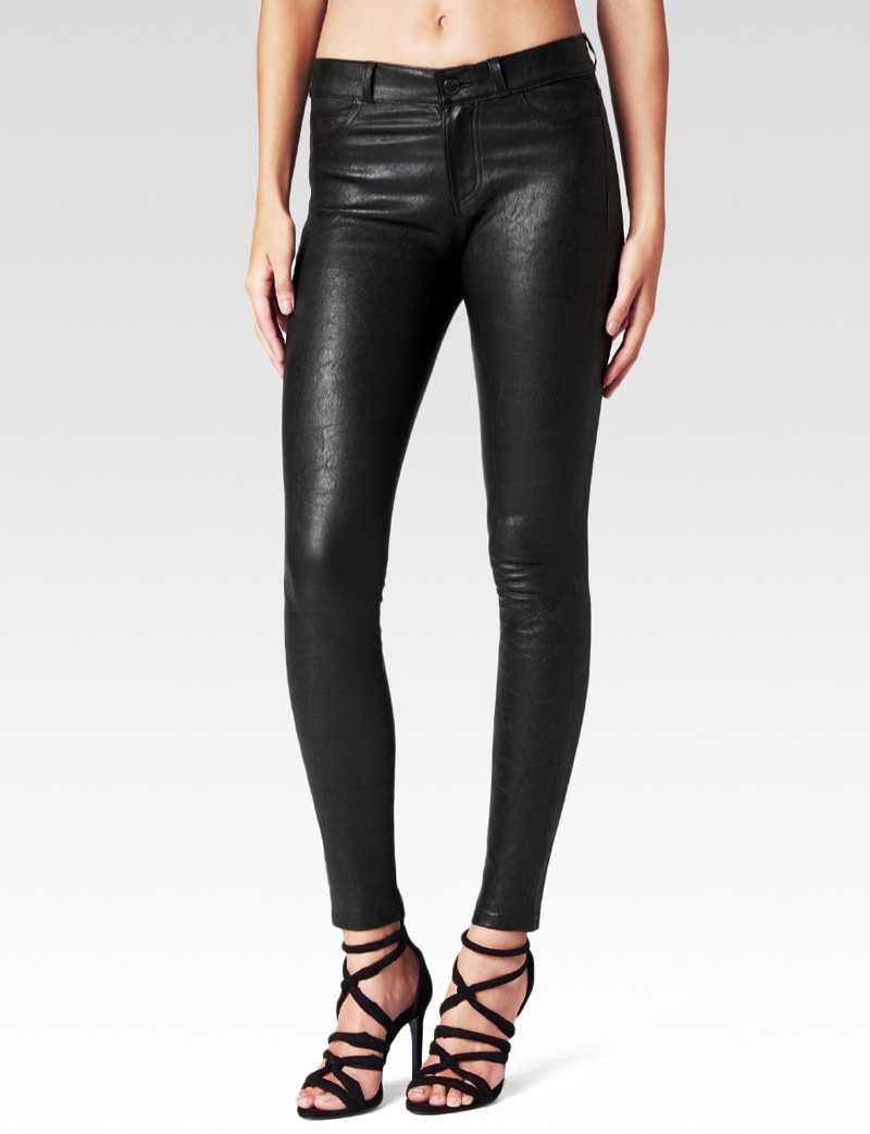 Paige Denim Hoxton Pant in Black Stretch Leather