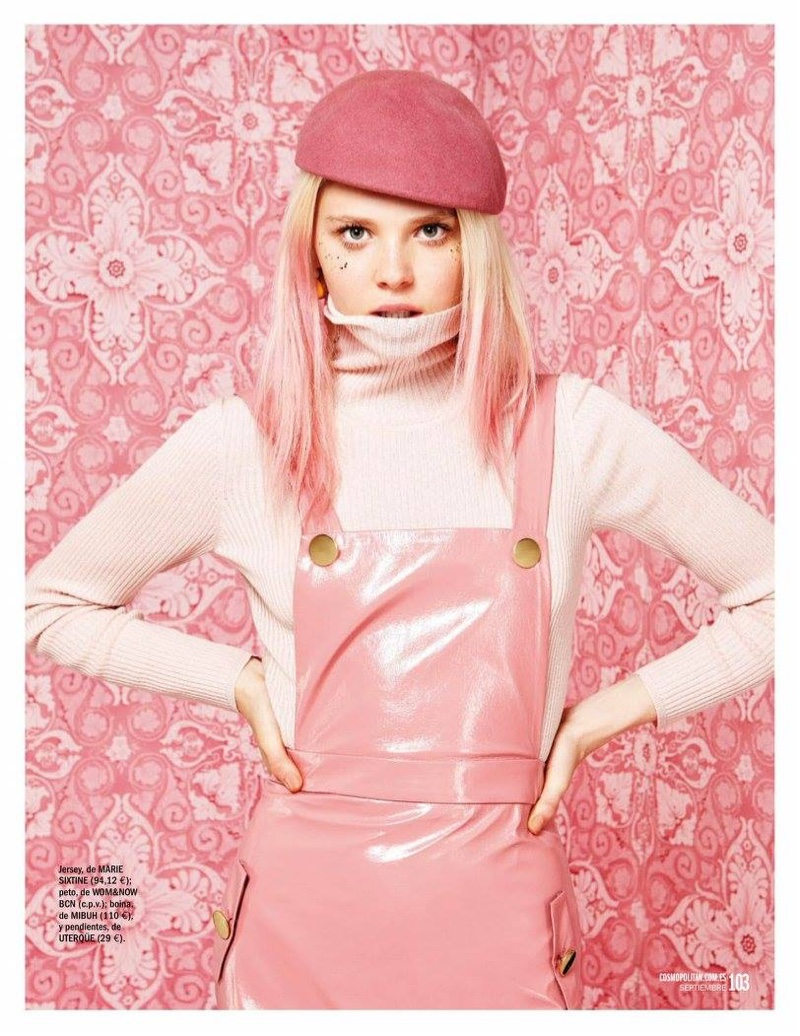 Katty Trost wears Marie Sixtine turtleneck sweater, WOM&NOW BCN overalls and Mibuh beret