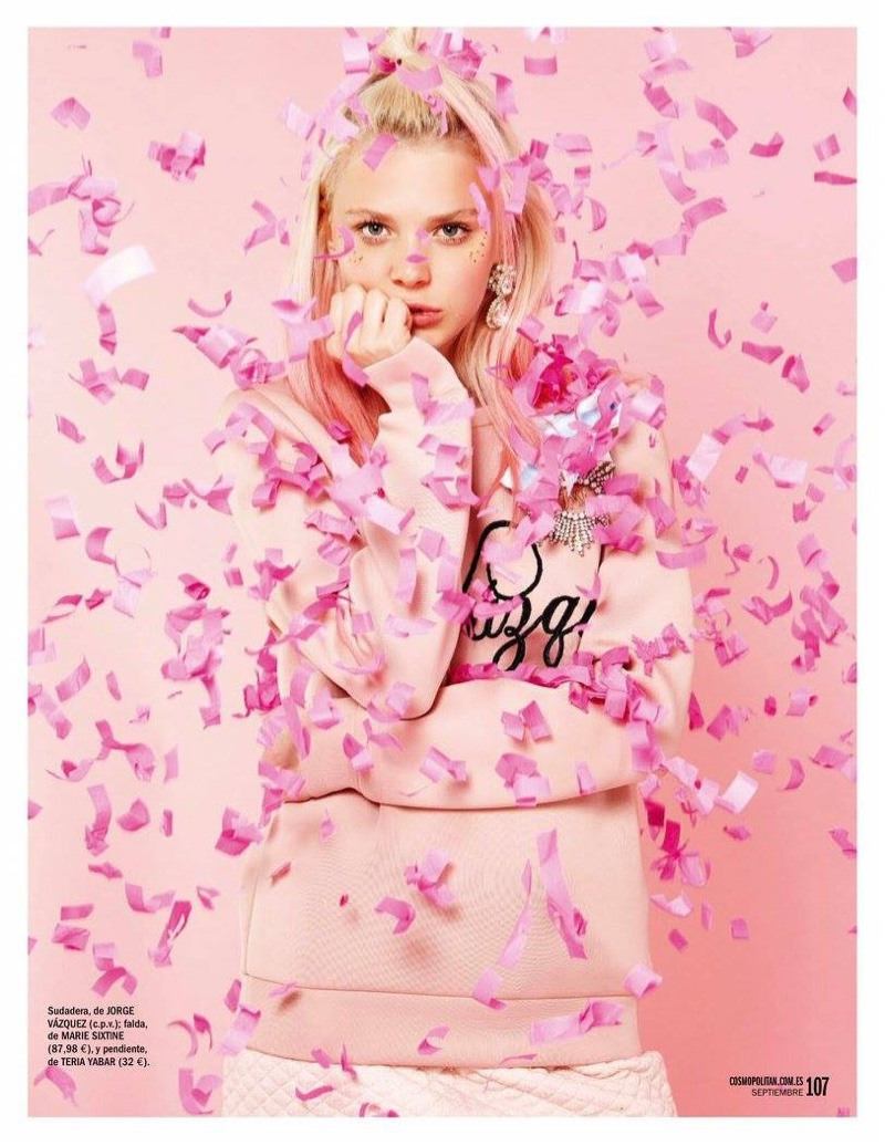 It's pink all over with confetti and a Jorge Vasquez sweatshirt and Marie Sixtine skirt