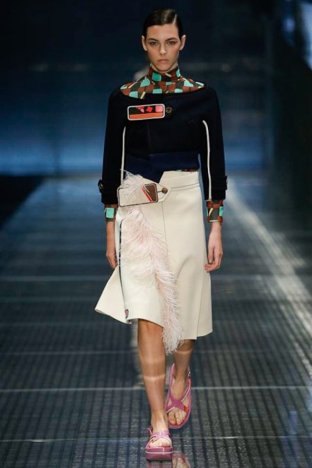 Prada Focuses on Feathers for Spring 2017