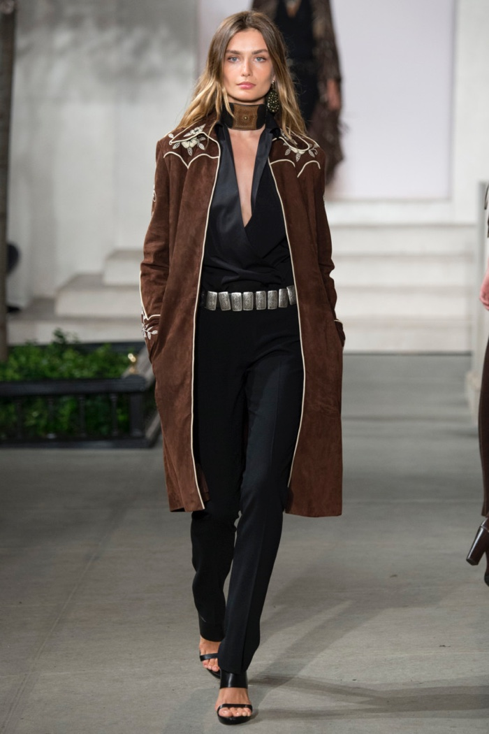 Ralph Lauren Fall 2016: Andreea Diaconu walks the runway in Houston embroidered suede coat, plunging top and pants