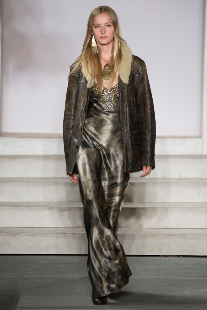 Ralph Lauren Fall 2016: Natalie Ludwig walks the runway in Denver leather ranch coat and Amber beaded gown