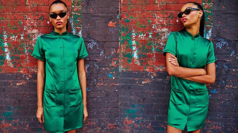 Reformation Bijou Dress in Emerald