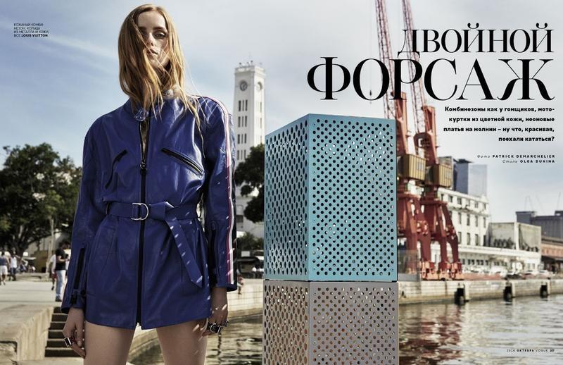 Rianne van Rompaey models Louis Vuitton jacket with belting
