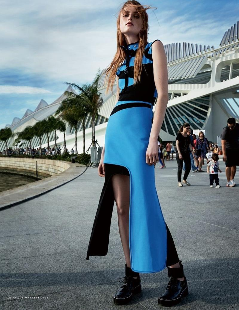 Rianne van Rompaey models Louis Vuitton gown with graphic detail