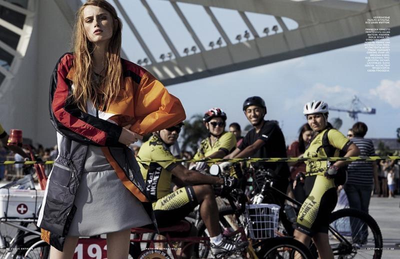Rianne van Rompaey models Louis Vuitton windbreaker jacket