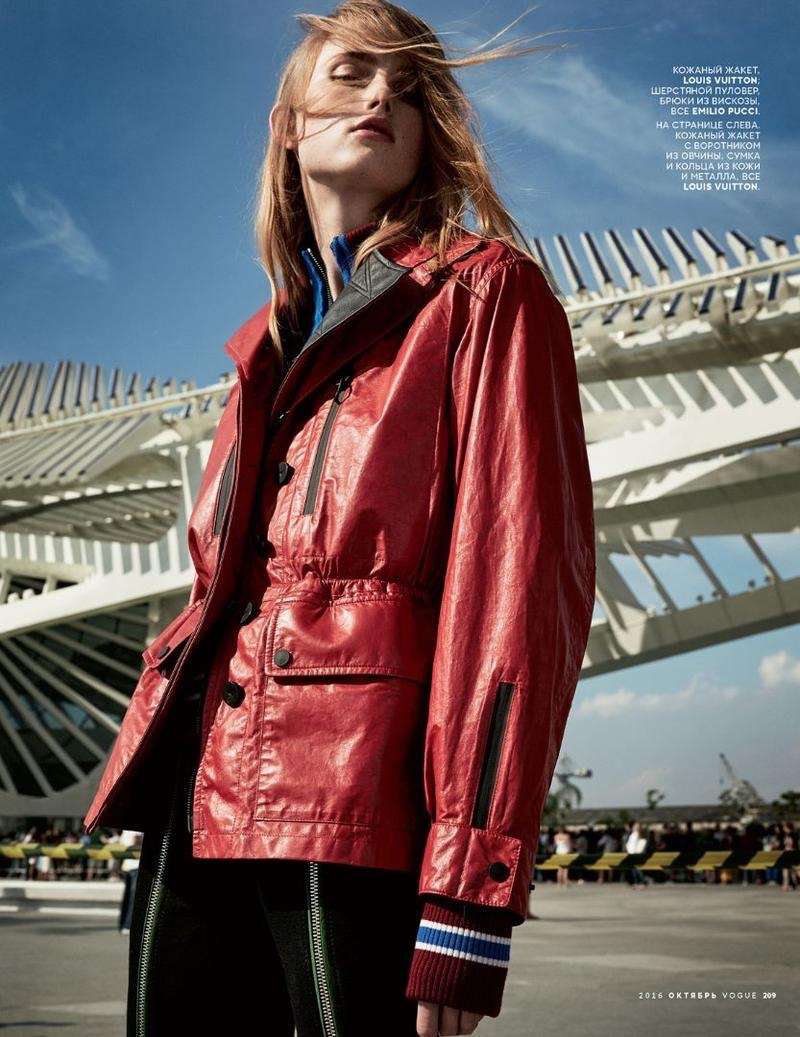 Rianne van Rompaey models red utility jacket from Louis Vuitton