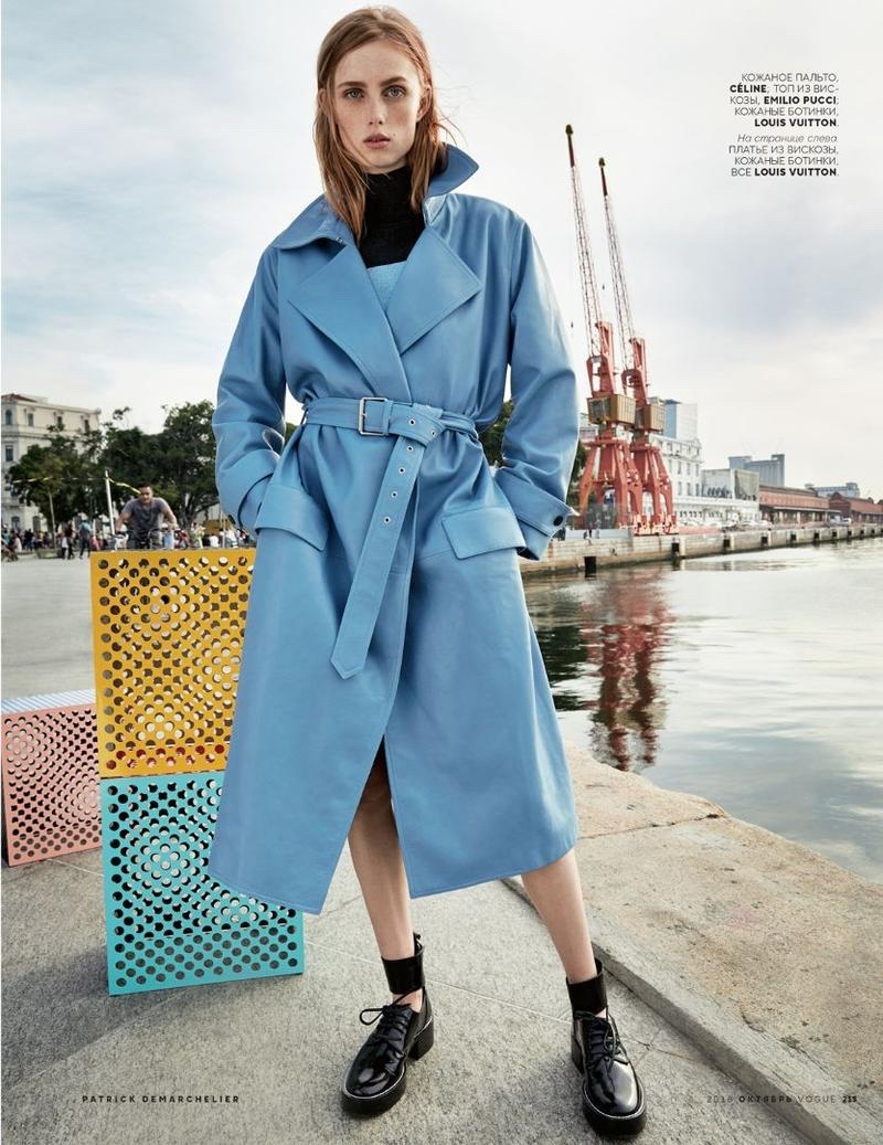 Rianne van Rompaey looks cool in blue Celine belted coat