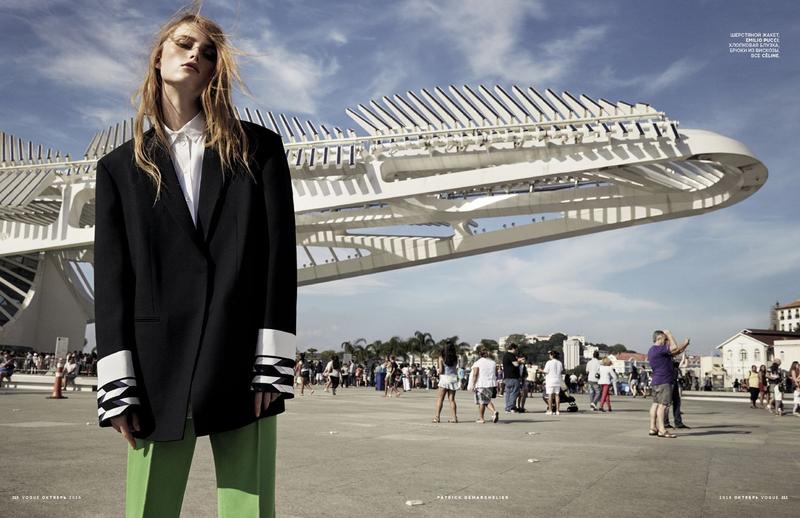 Rianne van Rompaey takes on oversized proportions in Emilio Pucci jacket and Celine pants