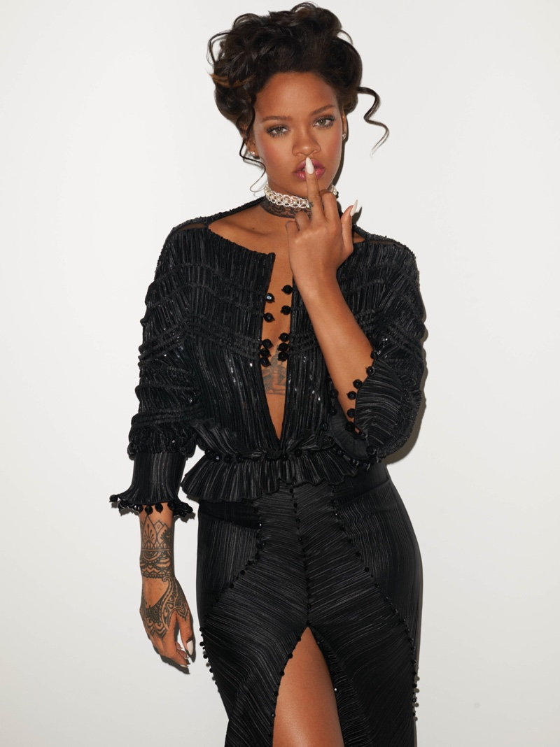 Rihanna wears pleated givenchy haute couture dress by riccardo tisci