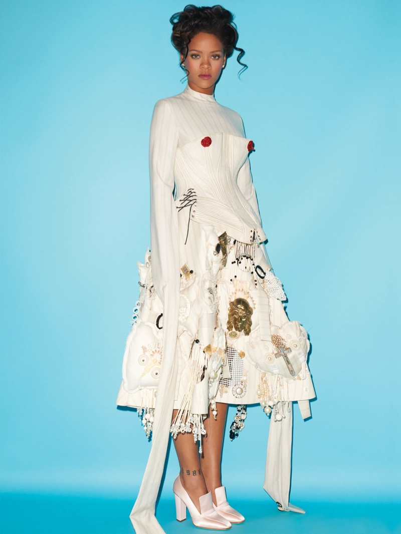 Rihanna poses in Dilara Findikoglu dress and corset with Giuseppe Zanotti shoes