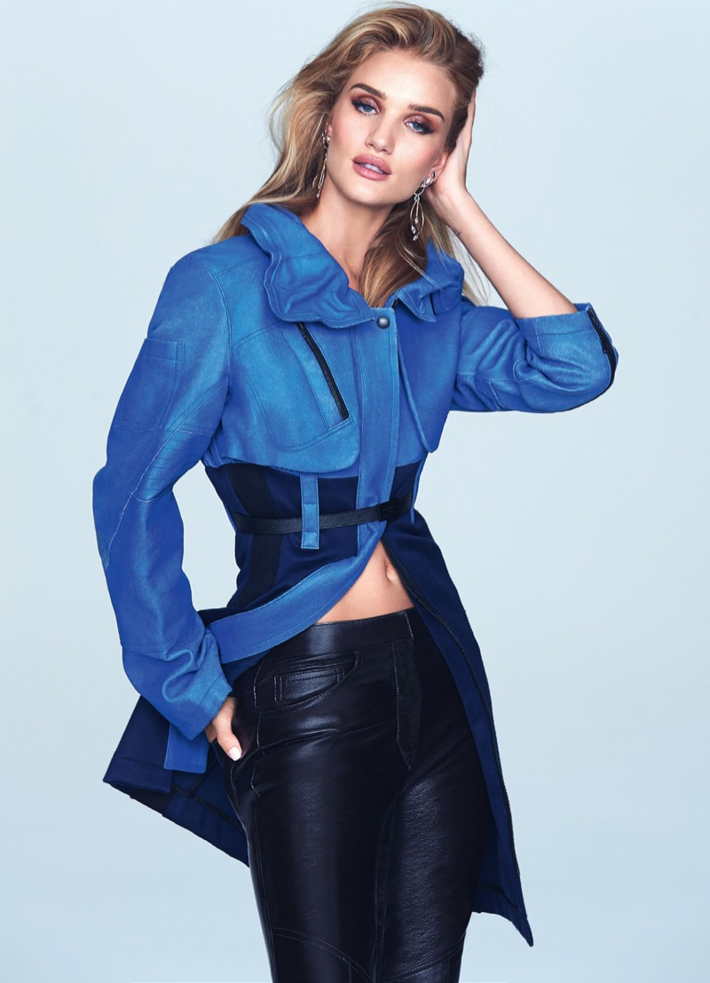 Rosie Huntington-Whiteley models blue Louis Vuitton jacket and leather pants
