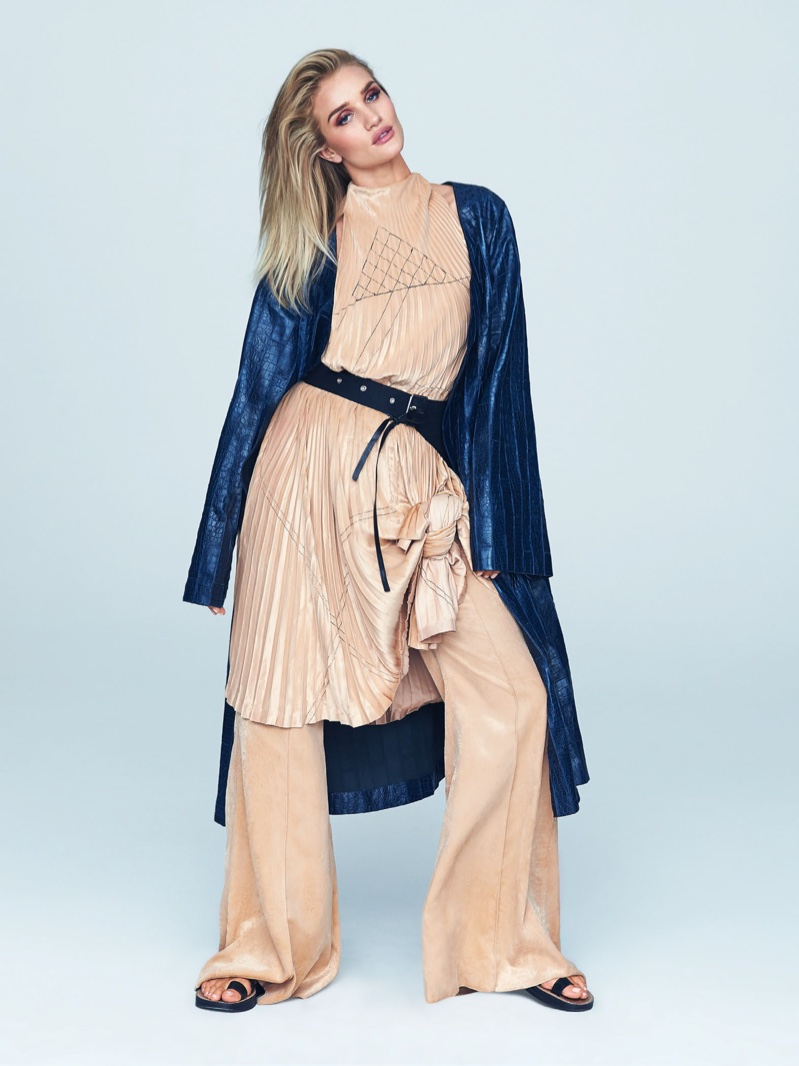 Rosie Huntington-Whiteley layers up in Celine coat, tunic, pants and sandals